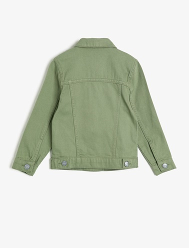 Koton Kids Dügme Detayli Jean Ceket Yeşil
